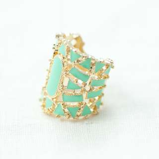 MaryJane Filigree Turquoise Lacquered Gold Tone Ring