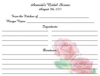 20) ROSE Theme RECIPE CARDS ~ WEDDING BRIDAL Shower LOVELY Keepsake