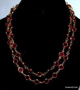 Estate RED Austrian Crystal Choker Necklace 35 Free US Shipping