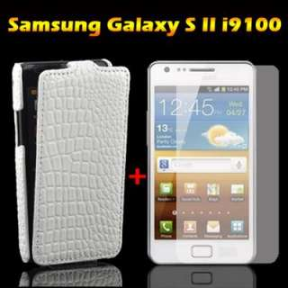 2in1 White Flip Leather Case+Screen Protector film For Samsung Galaxy