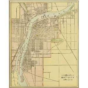 Cram 1892 Antique Street Map of Bay City, Michigan Office Products