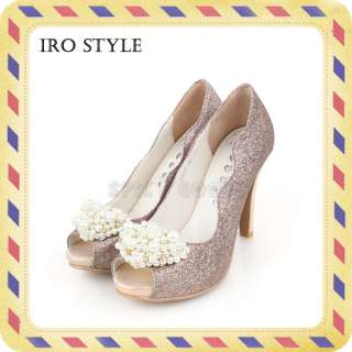 iro style] Fake Leather Pearl Decorated High Heel (Wedding shoes