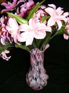Pink Blown Glass Flower Vase & flowers Home decor __B1