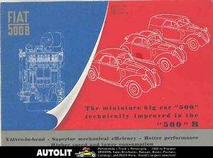 1948 1949 Fiat 500 500B Topolino Brochure Poster