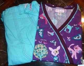 Koi Kathryn Pet Zoo SCRUB uniform top Lindsey Aqua Scrub Pant NEW Size