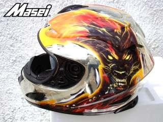 MASEI 802 CHROME DWOLF DOT MOTORCYCLE HELMET L XL