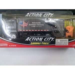 Action City Dark Gray Garbage Truck with Orange Dumpster: Toys & Games