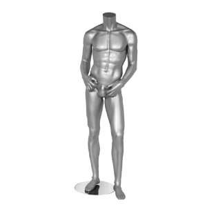 Mannequin Silver Metallic Male Headless Adult w/ Stand Clothes Store