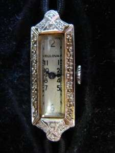 14K White Gold Diamond Bulova 17 Jewel Watch Fifth Ave NY Orig Box NR