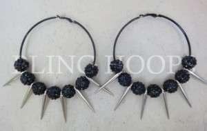 NEW Bling Hoops Rhinestone Earrings Basketball Wives