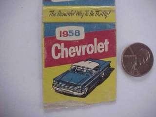 1958 Gackle North Dakota Chevrolet motor cars matchbook Colorful Chevy
