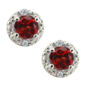 0.76 Ct Round Red Garnet and White Diamond Sterling Silver