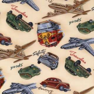 Michael Miller WAY TO GO VINTAGE TRAVEL PLANES, CARS, TRAINS fabric