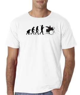 Mens Evolution of Man Drums Music Rock T Shirt Tee Drummer Drum Set