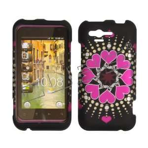 HTC Rhyme / Bliss ADR6330 ADR 6330 Black with Hot Pink Love Hearts