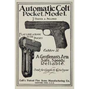 1903 Ad Automatic Colt Pocket Revolver 32 Calibre Gun