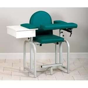 Extra tall blood drawing chair with upholstered seat, drawer & flip