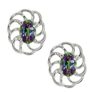1.10 Ct Oval Green Mystic Topaz 10k White Gold Earrings Jewelry