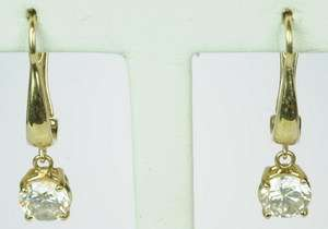 LADIES 14K YELLOW GOLD DIAMOND DANGLE ESTATE EARRINGS 149529