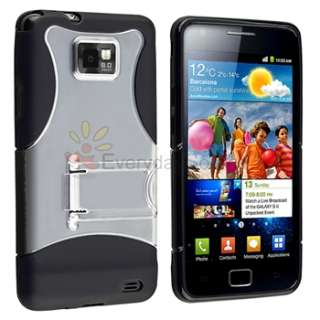 Black Clear Stand Case+Charger+Cable+Privacy LCD For Samsung Galaxy S2