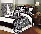 Zebra Bedding Black White Red Comforter Set Queen New