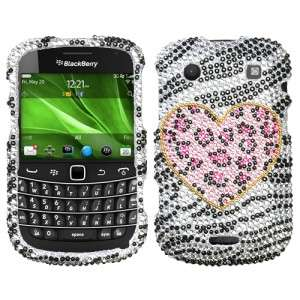 Leopard Crystal BLING Hard Case Phone Cover BlackBerry Bold 9930 9900