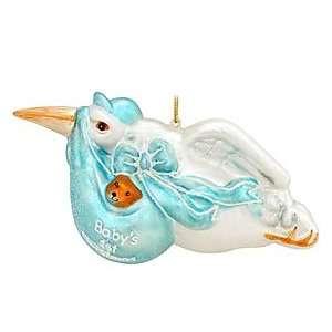 Blue Stork With Teddy Bear Glass Ornament