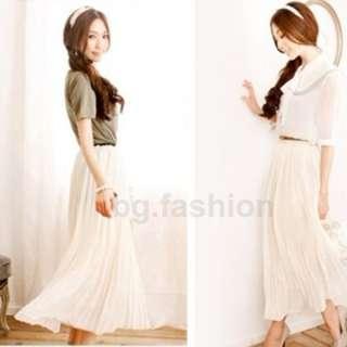 Elegant Chiffon Pleated Long Maxi Skirt Elastic Waist Band Beach Dress