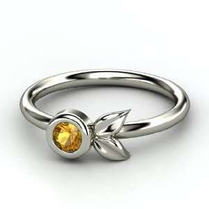 Boutonniere Ring, Round Citrine 14K White Gold Ring