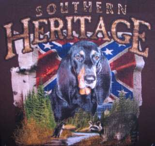 Hunting Tshirt Southern Heritage Blood Hound Confederate Rebel Coon