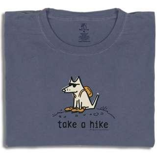 TAKE A HIKE T Shirt TEDDY THE DOG Mens Tee Shirt Blue Good Hiking