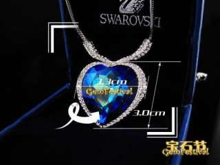 FASHION JEWELRY TITANIC HEART OF OCEAN NECKLACE PENDANT USE SWAROVSKI