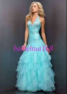 2010 Blue Halter Wedding Dresses paryt Prom Ball Gowns