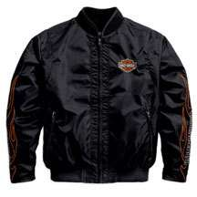 Mens Harley Davidson Flames Black Nylon Bomber Jacket