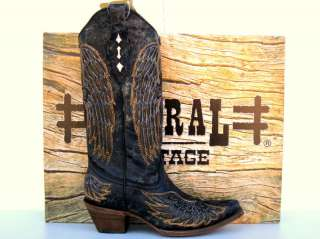 Corral Womens Black Angel Wing Cross Inlay Cowgirl Boot
