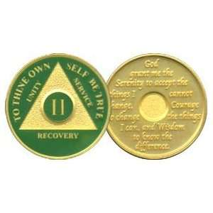 24K Gold Plated AA Birthday   Anniversary Recovery Medallion / Coin