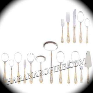 New 24k Gold Plated Trim Stainless Steel Flatware Set