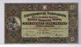 1949 Switzerland 5 Francs Note   EF