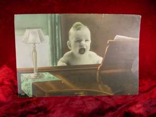 PICTURE FRAME PHOTO Baby Singing on Piano SWEET ADELINE Vintage