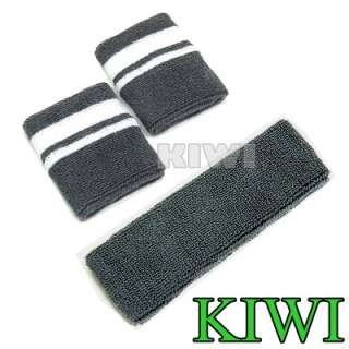pair gray high quality stylish sporty wristbands 1 gray headband