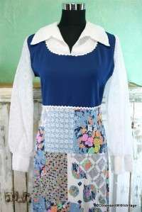 VTG white lace patchwork brady bunch hippie dress S/M