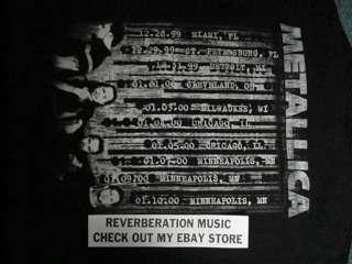 METALLICA 1999 / 2000 Tour 2 sided XL T Shirt Giant label w/10 midwest