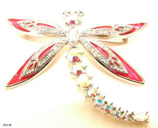 SUSAN LUCCI DEEP PINK ENAMEL CLEAR A/B CRYSTAL DRAGONFLY SILVER PIN
