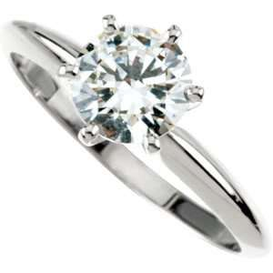 Gorgeous Womens 14k White gold Round (2 CT) 8MM Moissanite Solitaire