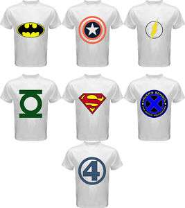 Super Hero Logo T Shirt Assorted 7 New Design S 3XL
