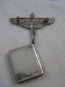 VTG STERLING WWII AIR FORCE WINGS W/ DANGLE LOCKET  NEW OLD STOCK