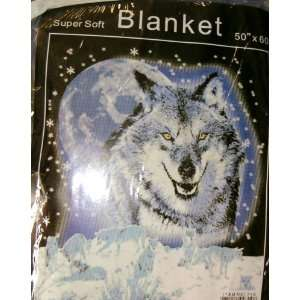 New, Wolf Super Soft Fleece Blanket, 50 X 60