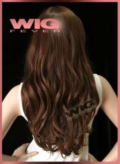 61cm Long Dark Brown Skin Top Hair Wig 61A86