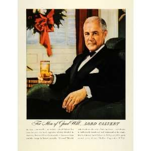 1945 Ad Lord Calvert Whiskey Liquor Drinking Smoking Black