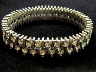 Silver Tone sparkling Clear Rhinestone Stretch Bracelet*1/2 wide